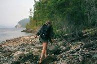 kobieta, plecak, góry, wspinaczka